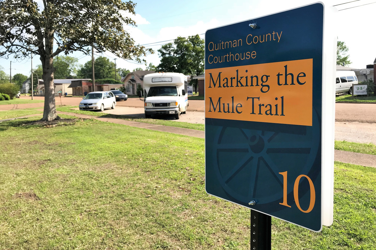 Eleven temporary location markers were installed in time for the 50th anniversary of the Mule Train.