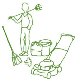 green stick drawing of man doing yardwork with rake and lawnmower