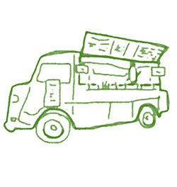 green pencil drawing of a food truck