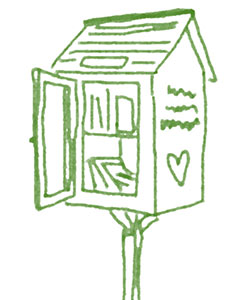 green outline drawing of what looks like a book share - small house on stick with heart on right of house