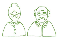 green outline drawing of senior woman, left, and man, right - both with glasses