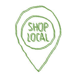 "green pencil drawing - ""shop local"" in circle surrounded by teardrop shape"
