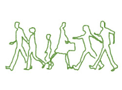 green pencil outline drawing of 6 people walking