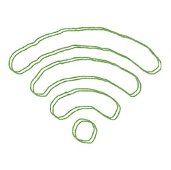 green pencil drawing of wifi symbol (3 circular lines over a dot)