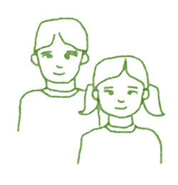 green outline drawing of young boy, top left, and girl
